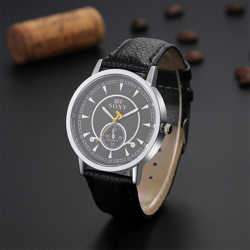 Hot Sale SOXY Luxury Brand Fashion Men Necessary Business Watch Leather Strap Quartz Watches Men Analog Watch Hombre Hour Clock<br><br>Aliexpress