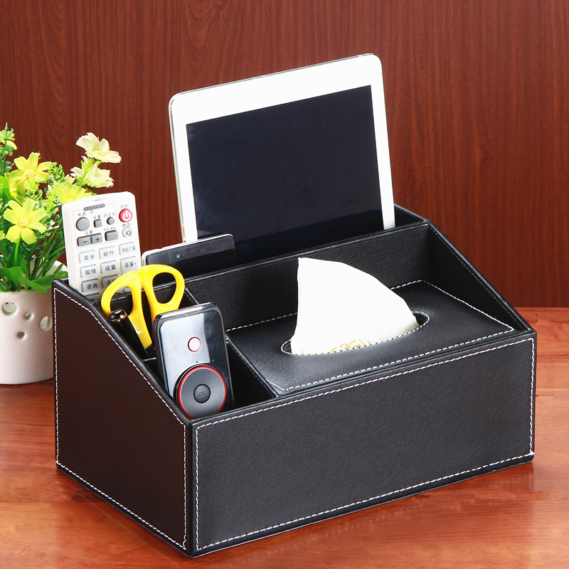 Multifunctional Leather Trapezoid Tissue Box Holder with 3 Compartments Holder Pen Pecnil Remote Control Phone Home Office Desk(China (Mainland))