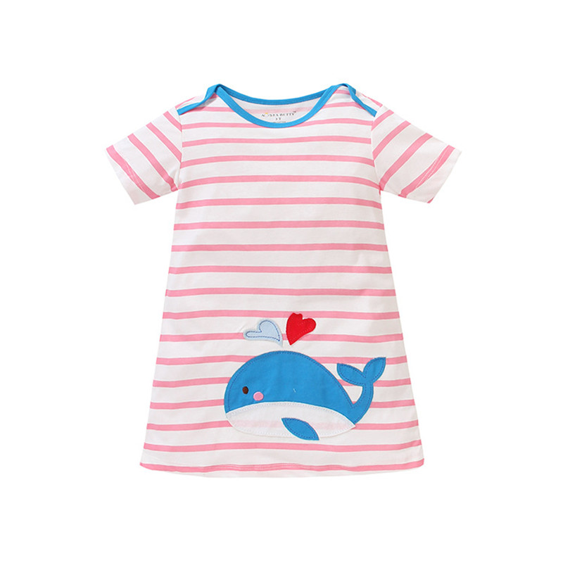 wholesale Summer baby girls dress,kids cotton dress,striped dress,cute cartoon patches,3 colors collection (1-6 yrs)(China (Mainland))