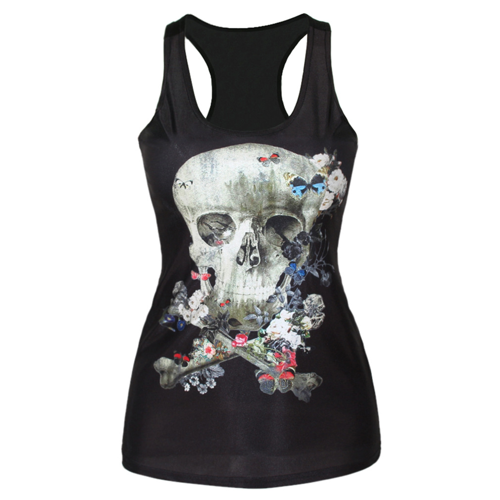 The new skull digital printing source of wind outside wearing a sleeveless vest primer in a long paragraph small vest(China (Mainland))