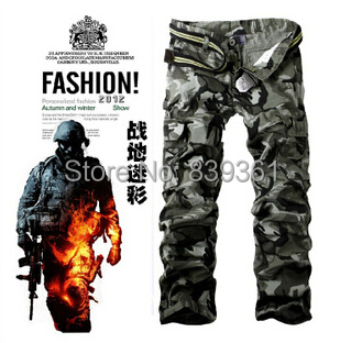 Men's Cargo Pants Multi Pocket Tactical Pants Mens Army Camouflage Outdoors SWAT Combat Training Trousers Overalls