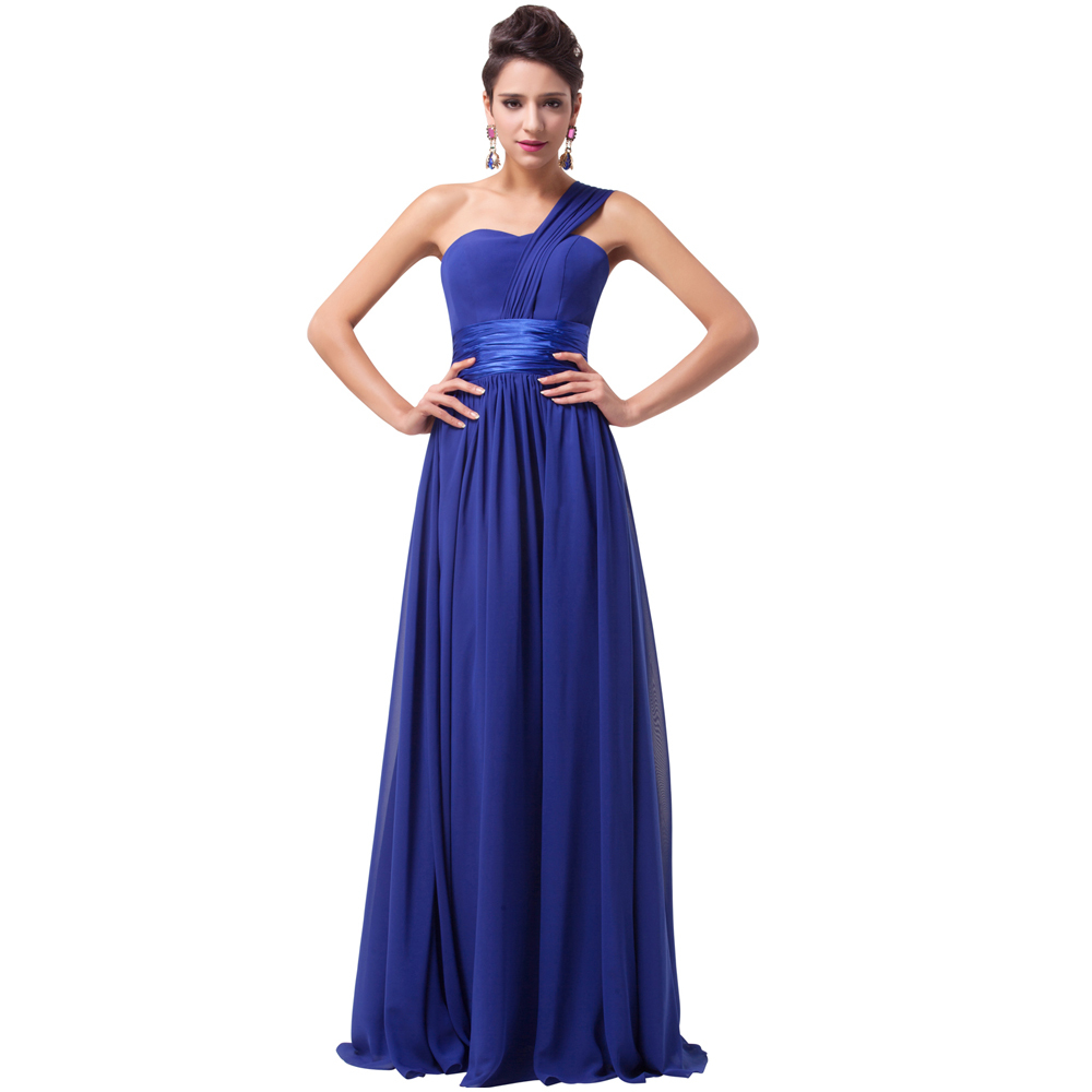 Free Shipping Grace Karin Stock One Shoulder Chiffon Prom Gown Formal Party Dresses Long Evening Dress Royal Blue CL6022(China (Mainland))