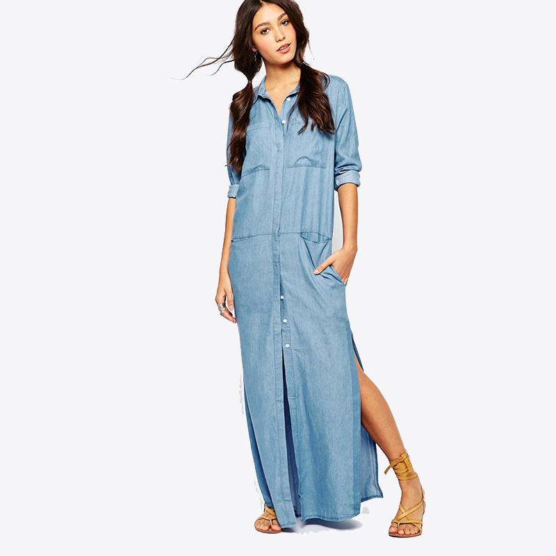 Popular Womens Full Length Denim Dress Plus Size-Buy Cheap Womens