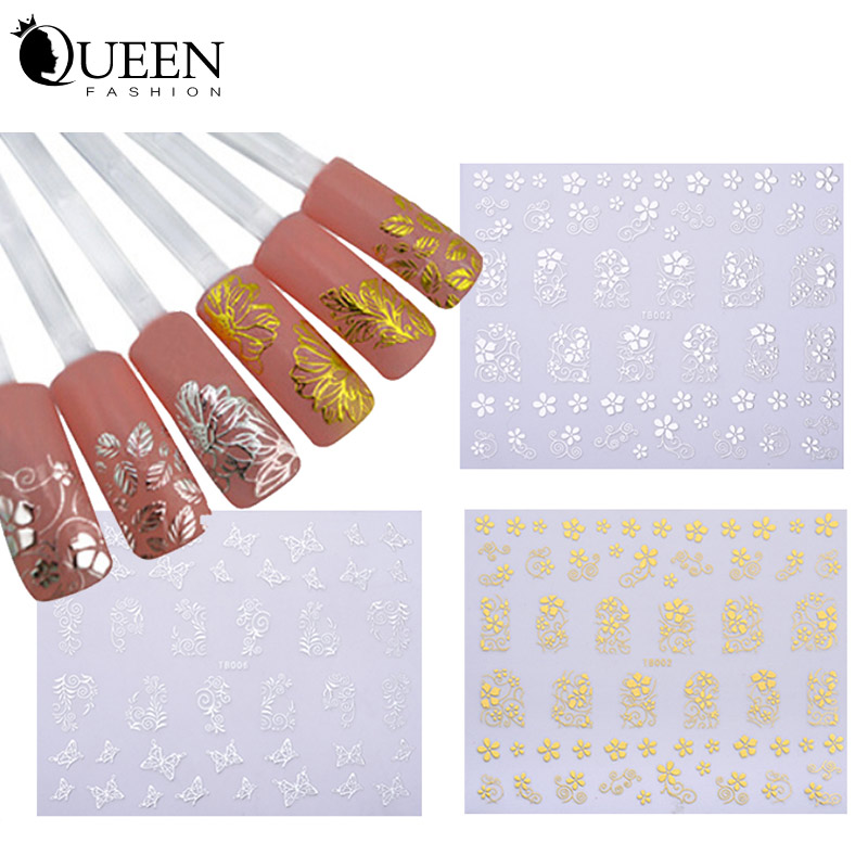 Gold Silver 3d Nail Art Stickers 1sheet Unique Charm Flowers Nail Foils Decals DIY Manicure Nail Beauty Tools(China (Mainland))