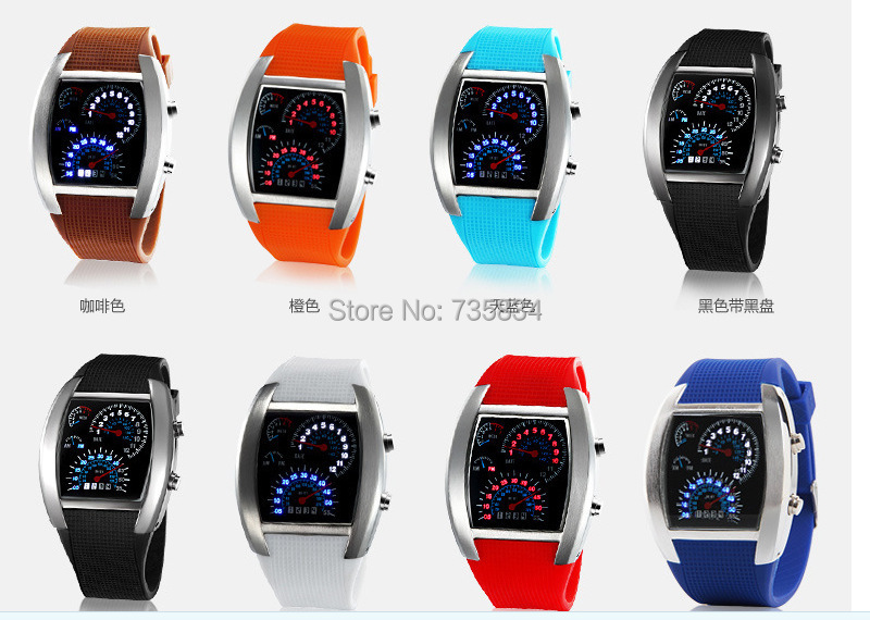 Wholesale 100pcs/lot Mix 8Colors Abco Tech LED Watch Sector Sports Car Meter Dial Men Wrist  Aviation Watch RW009(China (Mainland))