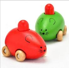 Foreign mice BB car baby infant children's wooden educational toys toy car animal sound
