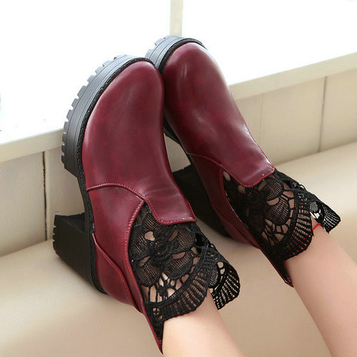 Shoes Woman Women Ankle Boots 2015 New Round toe Square Heel Platform Shoes Women Fur inside Warm Winter Boots Snow Boots Botas