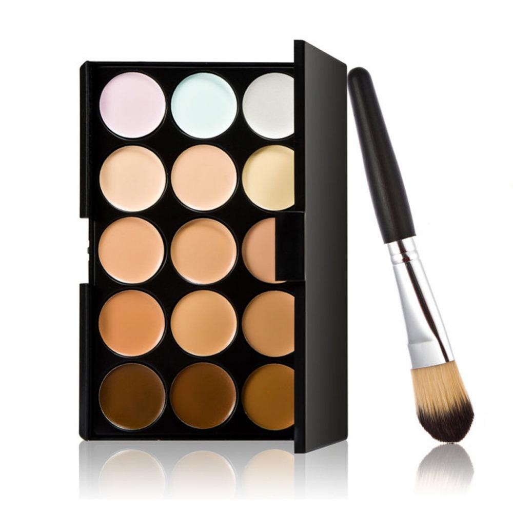 Concealer 15 Colors Contour Palette And Powder Brush 2 Pcs Set Professional Face Concealer Primer Makeup Cream Base Make Up M182(China (Mainland))