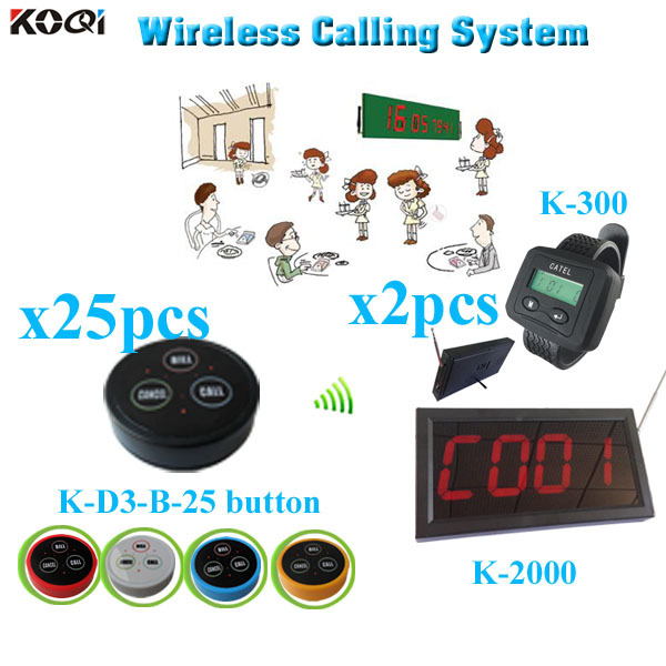 Wireless Restaurant Pager System long range strong signal (1 display receiver+ 2 watch +25 table bell button)(China (Mainland))