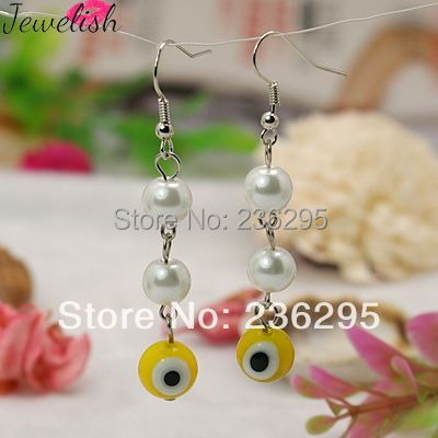 Handmade Italianate Lampwork Earrings, with Glass Pearl Beads and Brass Earring Hooks, Evil Eye Style, Yellow, 60mm(China (Mainland))