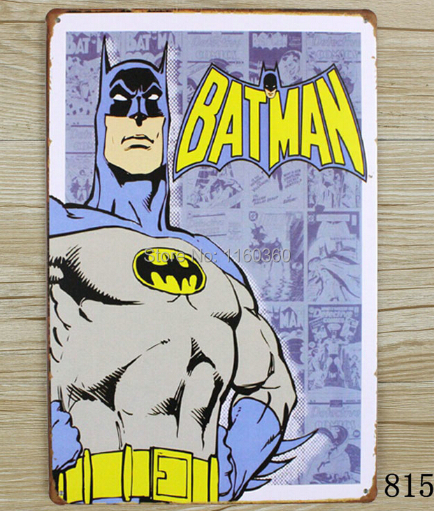 BAT MAN Personality Wall Stickers Decor Iron Retro Tin Metal Signs Plaques Living Room Bedroom Bar Cafe Metal painting M031(China (Mainland))