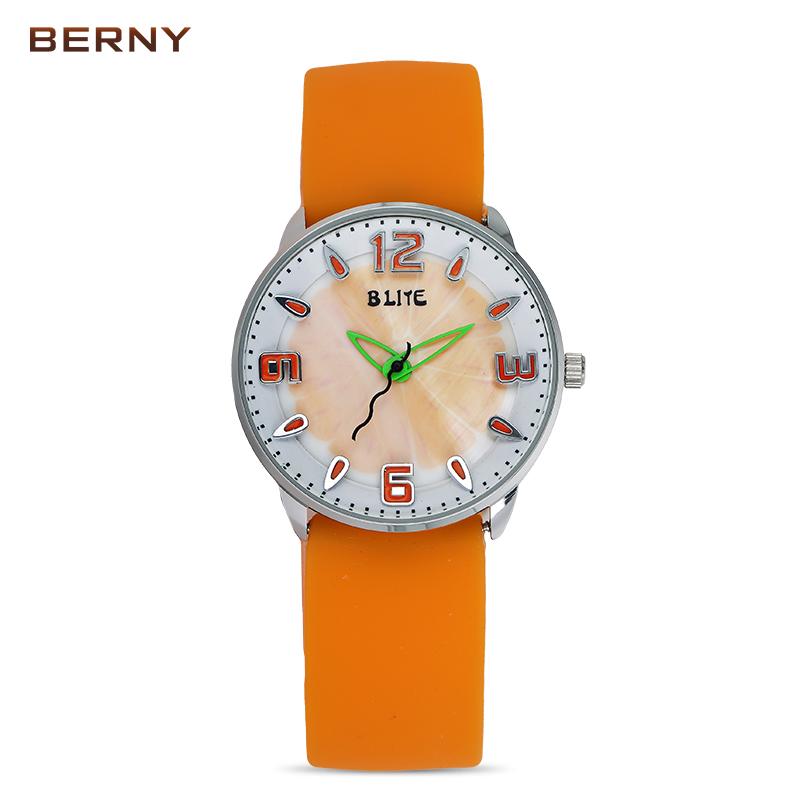 BERNY Children Silicone Belt Waterproof Quartz Sports Watches for Kids Girl Watch Analog Digital Clock Child Pink Red Watchband(China (Mainland))