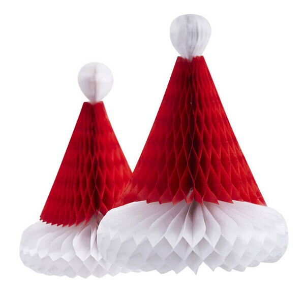 3pcs 20cm Santa Hats Tissue Paper Honeycombs Christmas Decoration Hanging Home&Garden Decorative Supplies Honeycombs Santa Hats(China (Mainland))