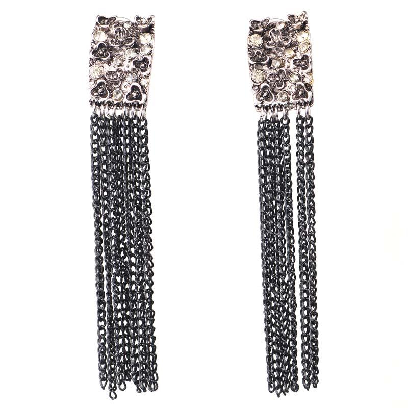 White Rhinestone Long Tassels Earring Women fashion earrings New arrival metal with gems stud for women girls E950(China (Mainland))