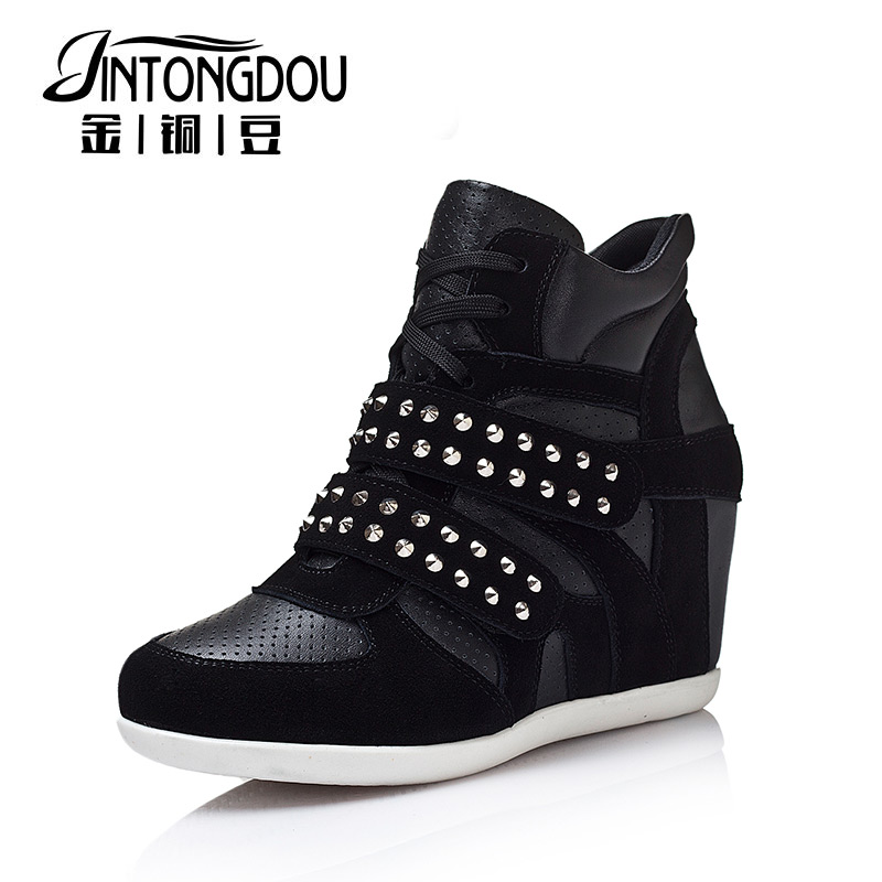 2015 NEW Invisible elevator women's single shoes wedges casual high-top shoes velcro female genuine leather rivet woman shoes