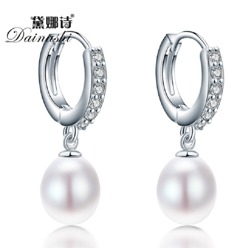 Top Quality Natural Freshwater Water Drop Pearl Jewelry 2016 New Fashion 3 Color Sterling Silver Hoop Earrings For Women(China (Mainland))