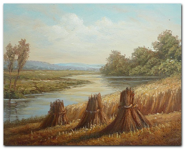 Hand Painted Impressionist Landscape Oil painting Harvest season No.1 Home Decoration Wall Art Free Shipping(China (Mainland))
