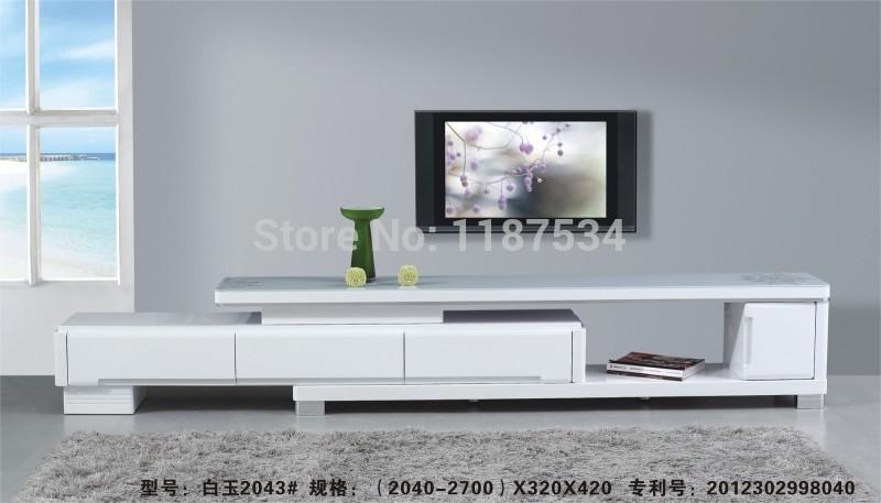 2043# muebles de sala de madera y vidrio blanco tramo TV reposar