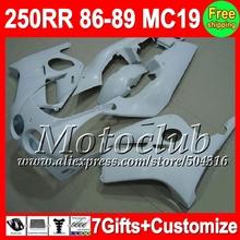 7gifts HONDA 86 87 88 89 CBR250RR MC19 Flat white 86-89 QC317 CBR 250RR Matte CBR250 RR 1986 1987 1988 1989 Fairing - Motoclub store