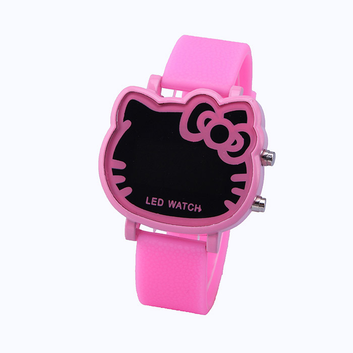 2015 New Hello Kitty LED Electronic Cartoon Creative Women Watches Lovers Watch Fashion Casual Silicone Wristwatches(China (Mainland))