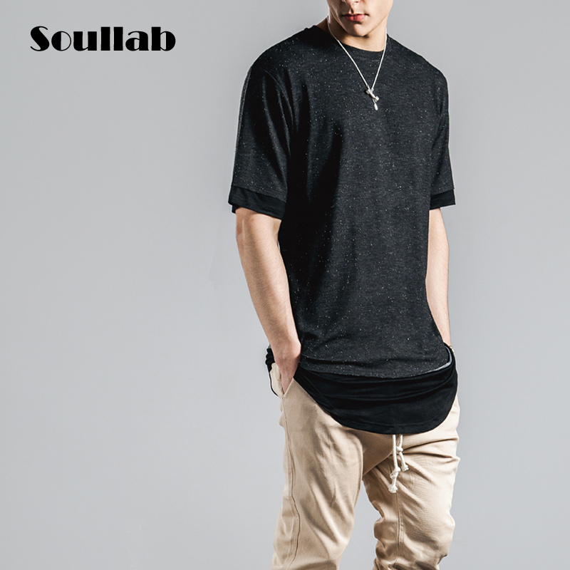 High quality fabric fashion mens male tops tees fashion swag t shirt long extended t-shirt hip hop rapper brand street clothing(China (Mainland))