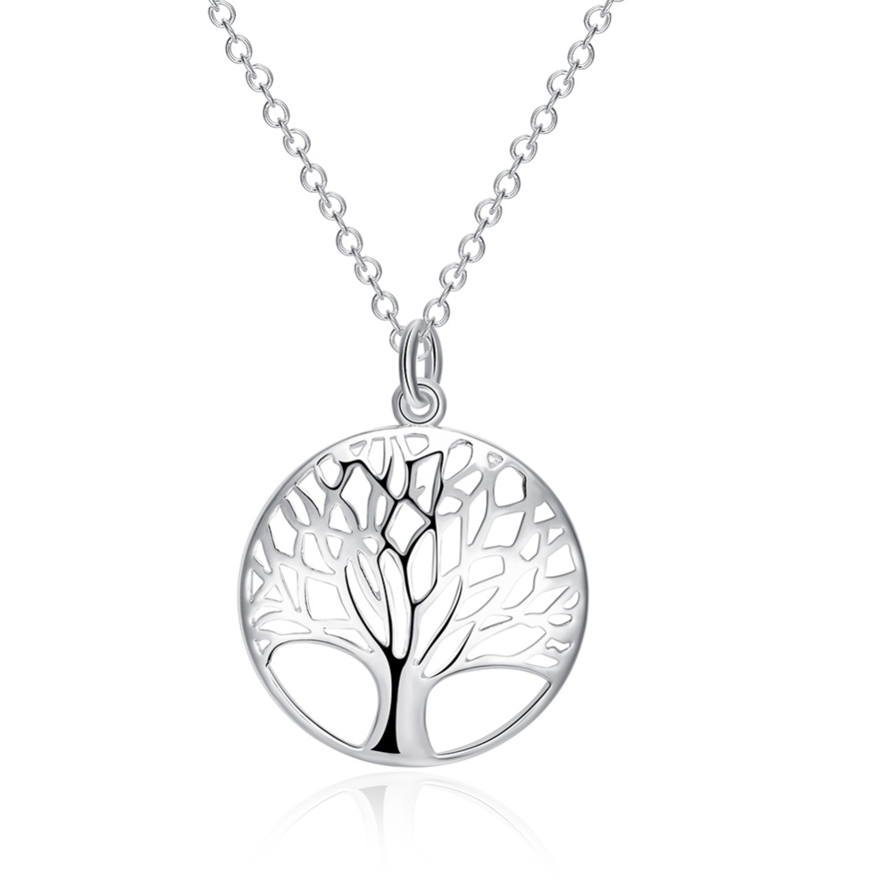2016 CHIC BEST SELLING Silver Tree Of Life Pendant Necklace totem gift girlfriend women wedding Valentines Day love 925 jewelry(China (Mainland))