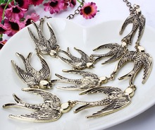 Fashion Women Brand Accessories Vintage Jewelry Swallow Necklace Alloy Clavicle Chain Wholesale Price XL57021