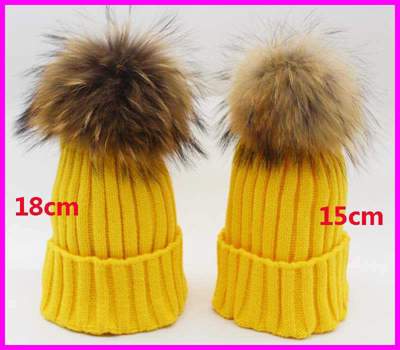 Fashion Women's Winter Knitted Fur Beanie Hats With 18cm Real Raccoon Fur Pompoms Caps Ear Protect Causal Fur Hats For Women(China (Mainland))