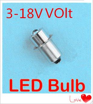 Wholesale Super Bright LED P13.5S 1W recessed screw LED light 3V-18V P13.5 1W screw base LED p13.5s 1w flashlight bulb 18V(China (Mainland))