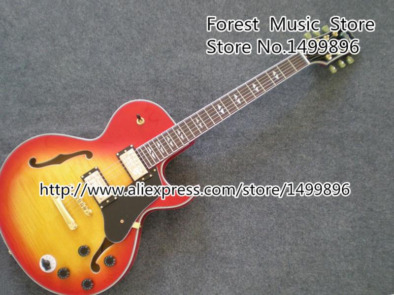 China Custom Shop ES Electrics Jazz Guitar Cherry Sunburst Tiger Flame Single Cut Hollow Body Guitarra Left Handed available(China (Mainland))