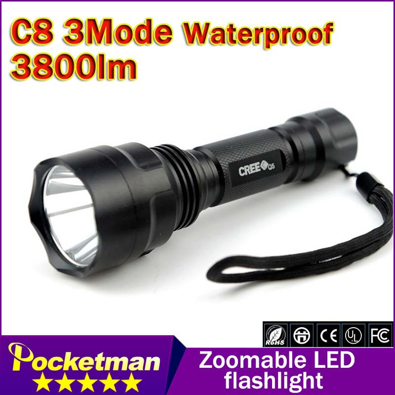 Promotion 90% off: Hight Power Cree Led Torch C8 Cree LED Flashlight Torch light Waterproof For 1x18650(China (Mainland))