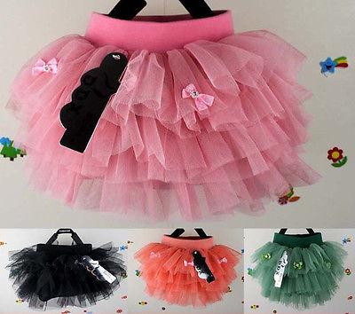 Summer Kids Girls Mini Dress Multi Tulle Layer Lined Pompon Tutu Skirts CA-Y55(China (Mainland))