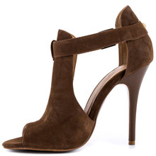 Open Pumps Covered Vamp Cute Buckle Cut Outs Peep Toe 4 1/2 inch Heel Man Made Upper Women Shoes Stilettos High Heels For Ladies(China (Mainland))