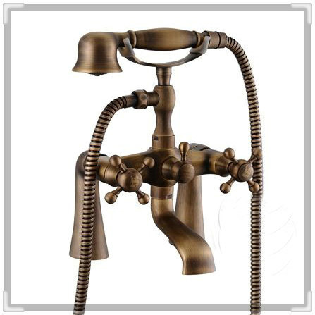 Antique bronze Brass Deck Mounted Clawfoot Shower/ Tub Mixer Faucet + Hand Shower Set bathroom tap toilet HJ-6053 tap(China (Mainland))