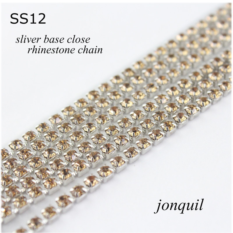Boutique!10yards/lot SS12(3.0mm) Jonquil crystal rhinestone beauty accessories copper silver base rhinestone chain(China (Mainland))