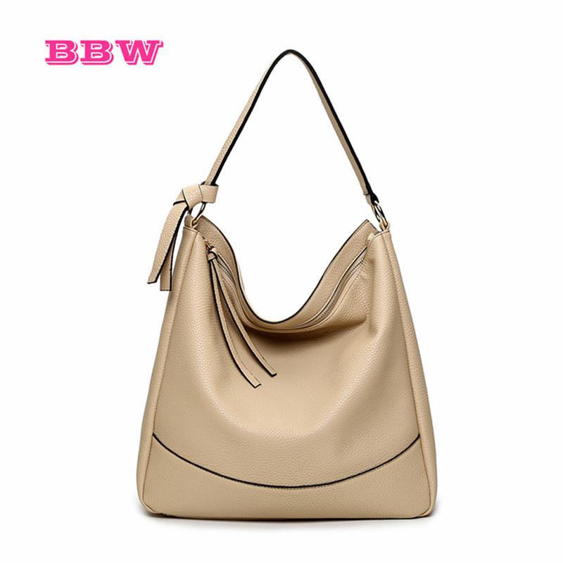BBW leather hobos women shoulder bags tassel black brand girls bags shopping ladies handbags female big totes factory wholesale(China (Mainland))