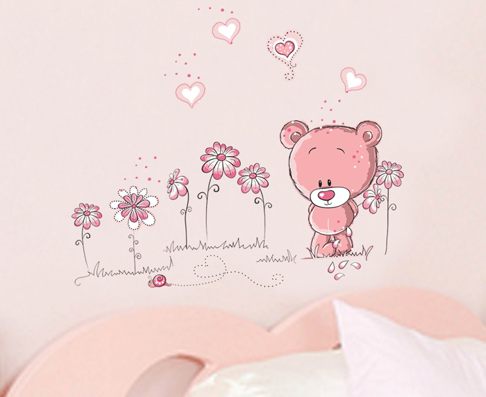 [V-co] Lovely pink bear The little girl bedroom vinyl wall stickers for kids rooms home decorations DIY wall decals art poster(China (Mainland))