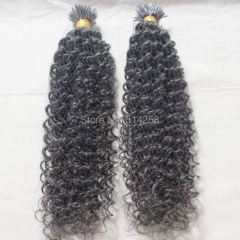 Cheap I-Tip Peruvian Kinky curl Virgin Human Hair 1g*100Strands Grade 5A Natural Color,#1B,#2 Peruvian Virgin I-Tip Hair