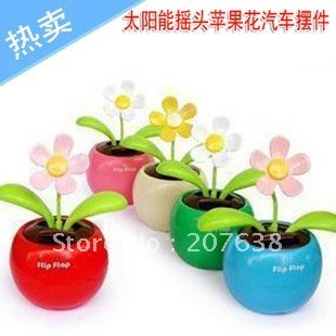 Best Selling!!Flip Flap Solar Powered Flower Cool Car Dancing Toys/ car accessories+free shipping Retail&Wholesale
