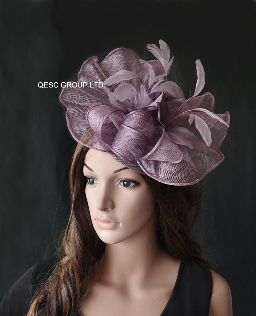Heather purple Big Sinamay fascinator hat with feather flower for melbourne cup,ascot races, kentucky derby wedding.(China (Mainland))