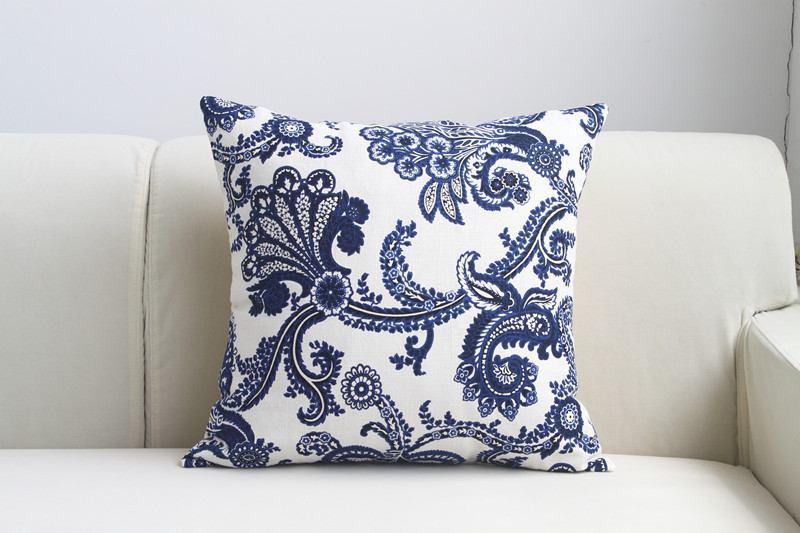 Traditional Chinese Style blue white porcelain Cushion Cover Pillow Case Pillow cover pillowcase ...