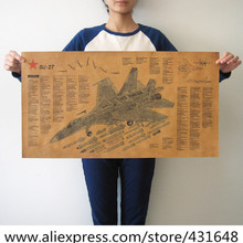"XL Vintage Style Wall Paper Poster SU-27 Fighter Aircraft Drawings 28""X12"" Personalized Cool poster painting Home Bar decoration(China (Mainland))"