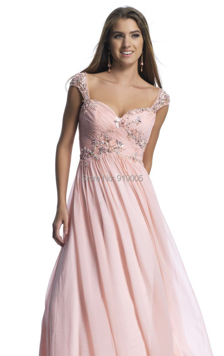1007Party Dresses Pink Chiffon Appliques Crystal Elegant Long Evening Mother Bride Dress Gown Prom Dress2014 - SuSu D Store store