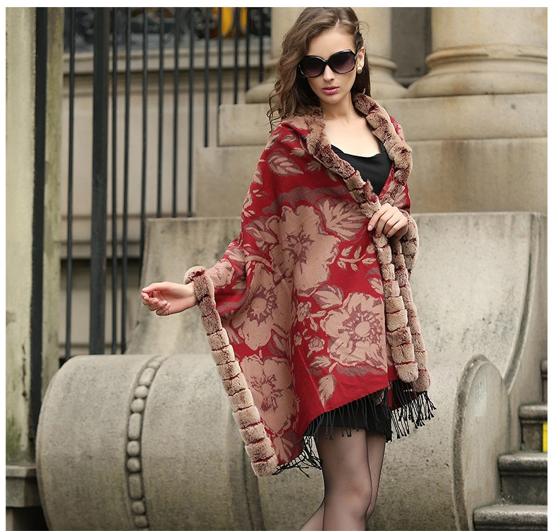 New Brand British Style Women's Winter 100% Real Cashmere Pashmina Scarf With Fashion Tassel Natural Rabbit Fur Trim Poncho Cape
