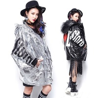 Women's Parkas Leather Punk Hip-Hop Black Silver Thick Europe-American Fashion Winter 2015 New 51027