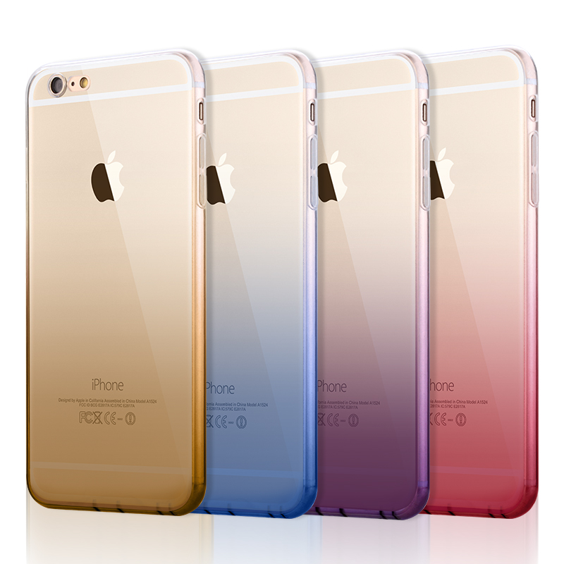New Cute Gradient Case for iPhone 6 6s 4.7' / 6 Plus 6s Plus 5.5' TPU Case Soft Dual Silicon Cover Fundas for iPhone 6 s TPU Gel(China (Mainland))