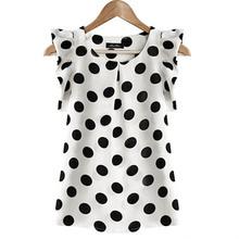 Hot Sales New Summer Womens Ladies Chiffon Puffed Short Sleeve  Dot Print Top Blouse(China (Mainland))