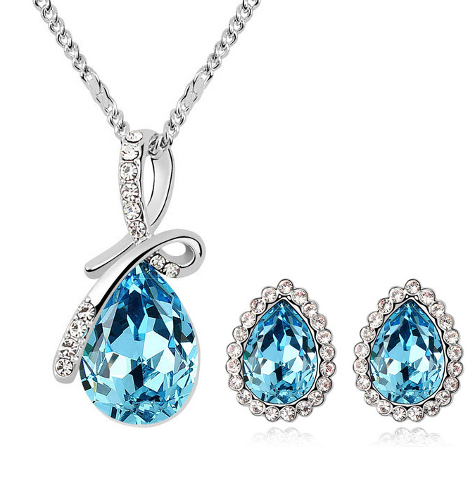 Free Shipping Best Price Water Drop Earrings & Necklace Crystal Jewelry Set Austrian Jewelry Set Free Shipping 6 Colors S018(China (Mainland))