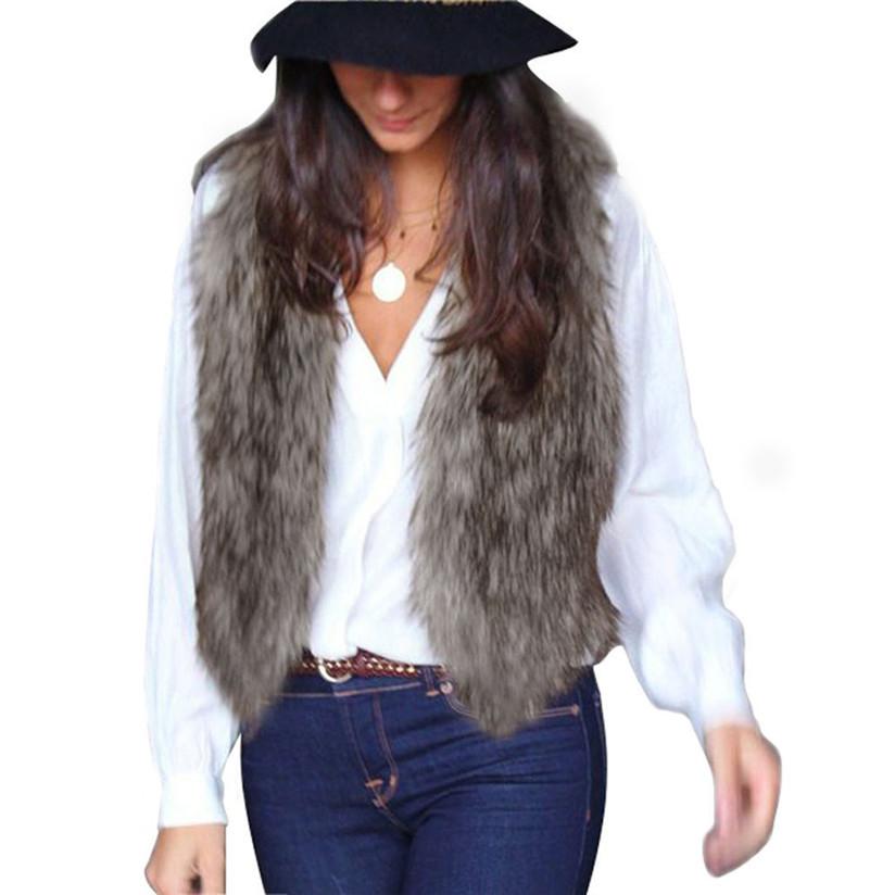 Hot marketing Women 2015 Fashion New Vest Sleeveless Coat Outerwear Long Hair Jacket Waistcoat Sep1