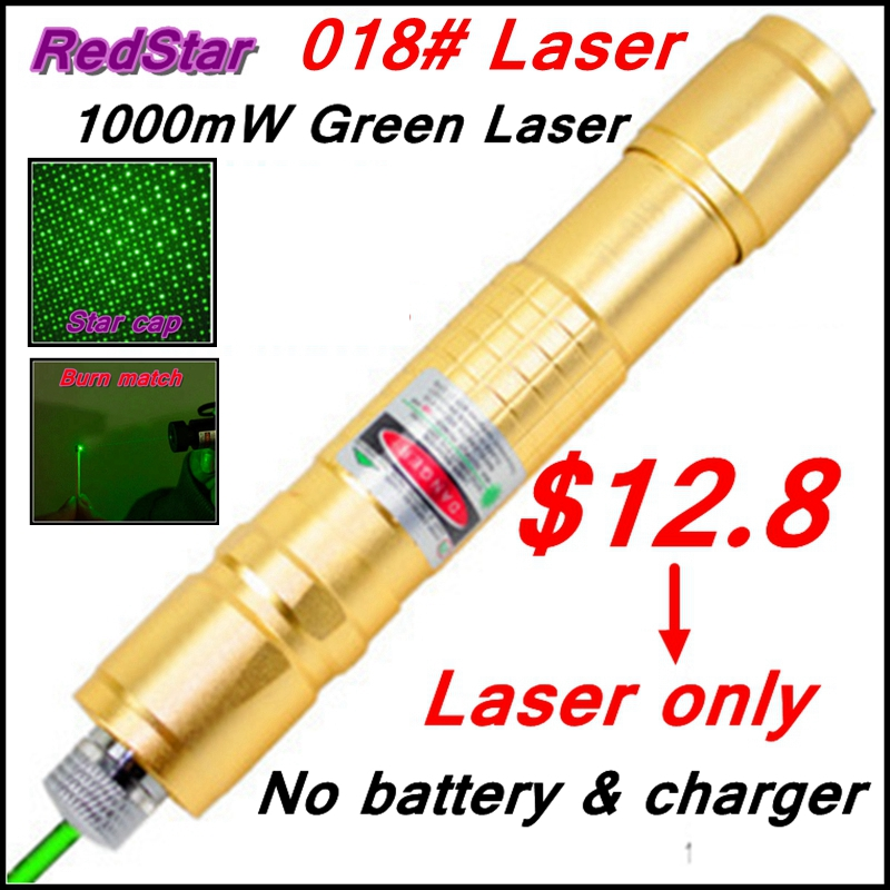 [RedStar]018 Laser only 1000mW green laser pointer starry image cap light match Golden style without 18650 battery and charger(China (Mainland))